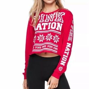 NWT Pink nation long sleeve crop top size XS roomy